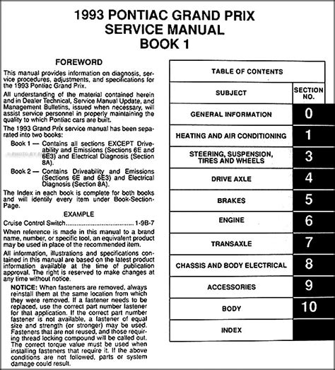 service manual 1993 pontiac grand prix workshop manuals free pdf download service manual