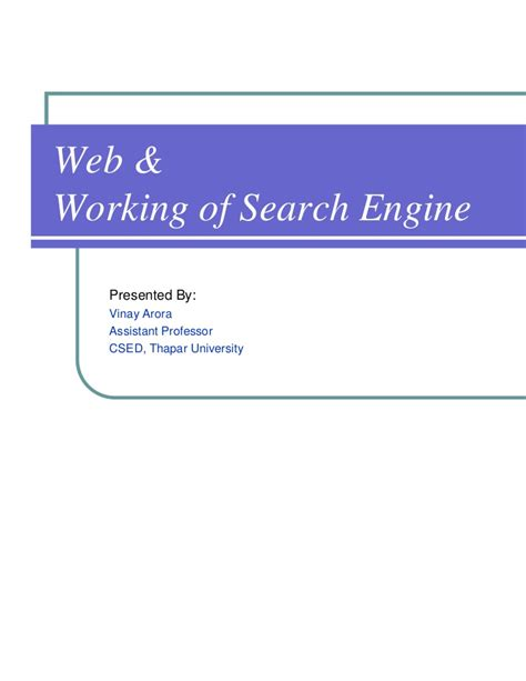 Search Engines Web Wt Web Working Of Search Engine