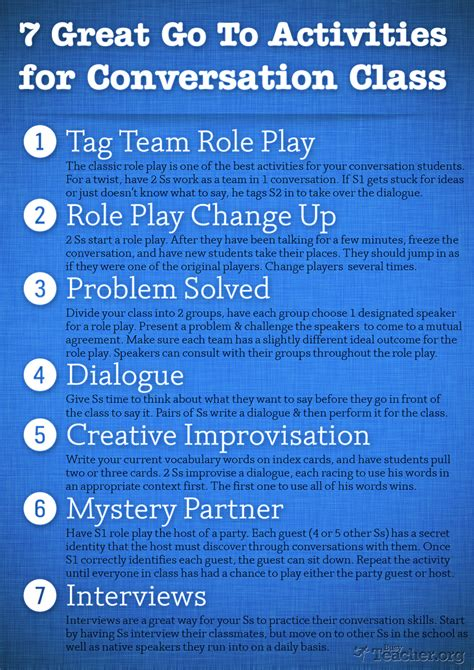 themes for english conversation classes 7 great go to activities for conversation class poster