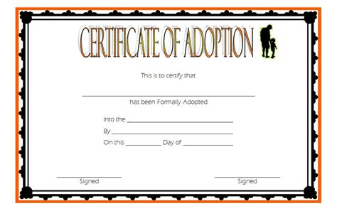 blank adoption certificate template adoption certificate template 9 the best template collection
