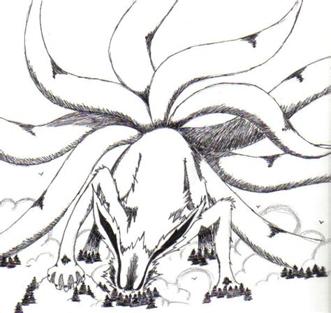 nine tails coloring pages nine tailed fox drawing