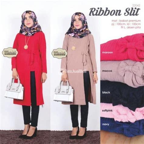Baju Murah Atasan Outer Murah Outer Flowa ribbon slit baju atasan wanita muslimah modern harga murah