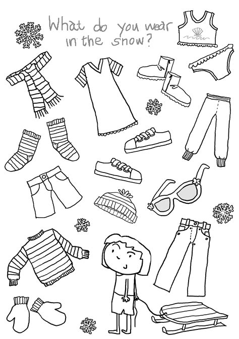 images  clothes  children worksheets winter