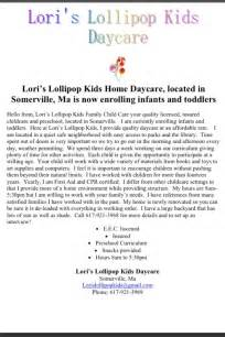 Closing Day Home Letter Lori S Lollipop Home Daycare Located In Somerville Ma Is Now Enrolling Infants And
