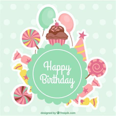 felicitaciones de cumpleanos con torta de colores tarjeta de cumplea 241 os con dulces descargar vectores premium