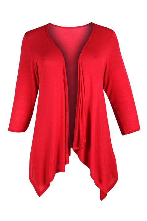 Cardigan Jersey womens plus size sleeve open waterfall jersey