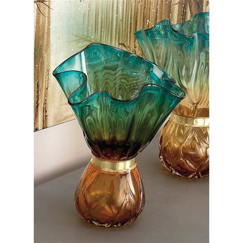 Decorative Glass Vases Coastal Teal And Glass Decorative Vase 58996 The