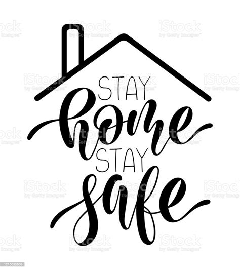 hand sketched text stay home stay safe  roof concept