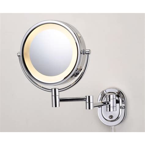 jerdon 14 5 in l x 9 75 in w lighted wall mirror in chrome hl65c the home depot