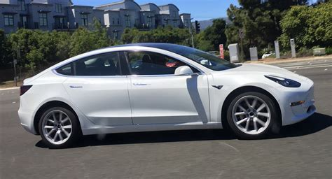 Tesla White White Tesla Model 3 Spotted In Traffic All Design Lines