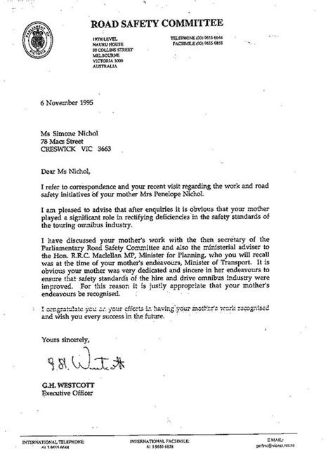 Official Letter On Road Safety Letter From Road Safety Committee Cultural Tourism