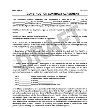 Create A Free Construction Contract Agreement Legal Templates Construction Contract Template