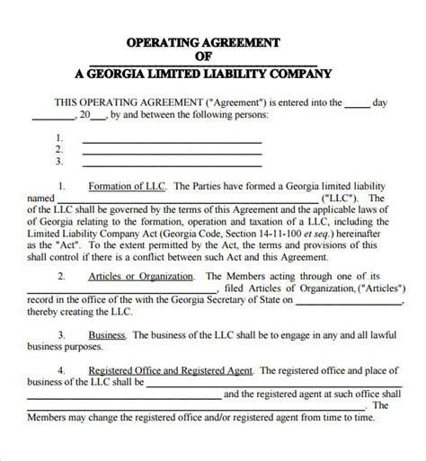 operating agreement template for llc operating agreement 7 free pdf doc