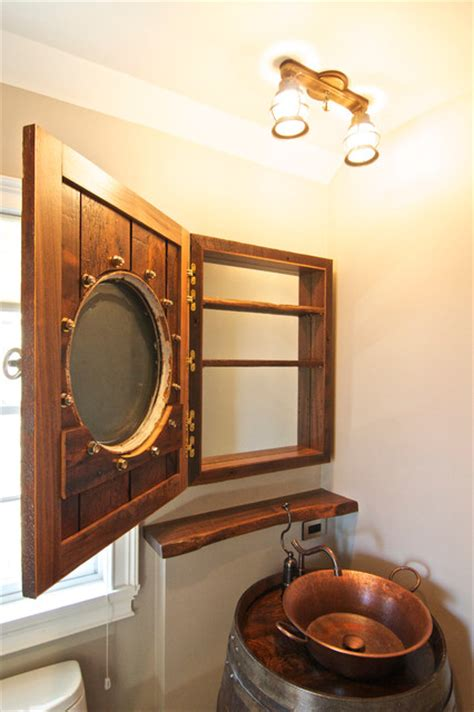 barrel vanity and porthole medicine cabinet