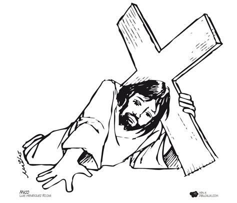 imagenes del via crucis en blanco y negro via crucis caida 5 dibujalia dibujos para colorear
