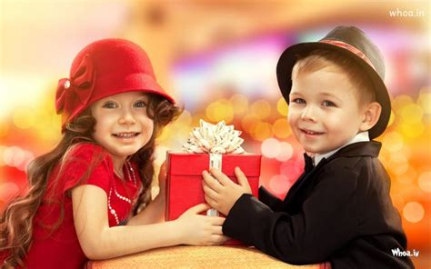 wallpaper of girl and boy together little boy gift to angle girl hd cute wallpaper