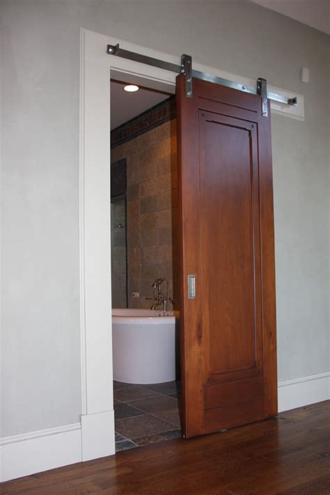We are remodeling two small bathrooms and would consider replacing the traditional doors with
