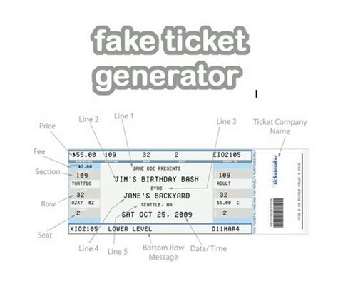 printable pretend tickets fake ticket generator create your very own novelty