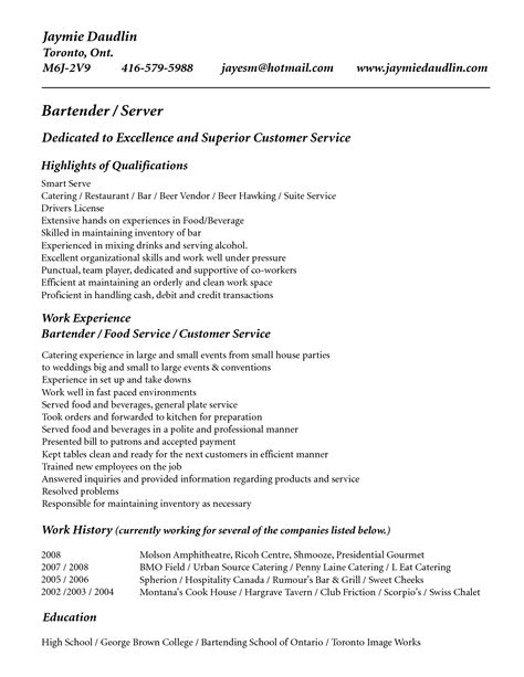 Exle Of Bartender Resume by Resume Template For Bartender No Experience Resume Cover Letter Exle