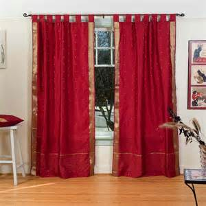 sari drapes maroon tab top sheer sari curtain drape panel