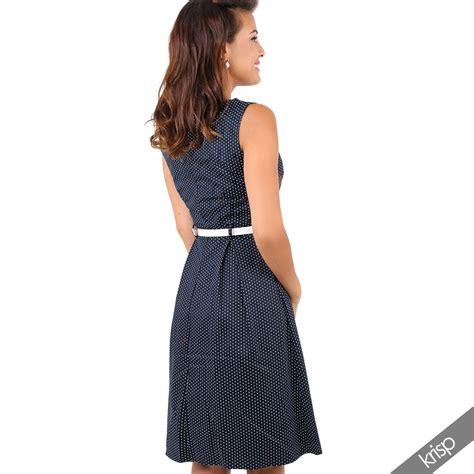 vintage swing mode damen vintage kleid gepunktetes midi sommerkleid swing