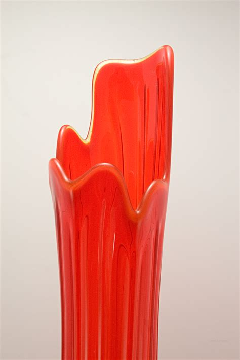 hand blown glass floor retro glass floor vase in persimmon 1960 1970