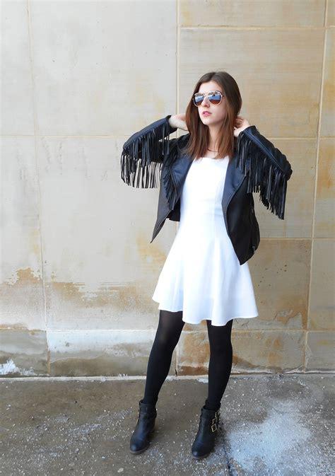s black fringe leather biker jacket white skater