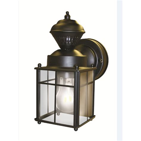 Motion Activated Light Outdoor Shop Secure Home 9 52 In H Matte Black Motion Activated Outdoor Wall Light At Lowes