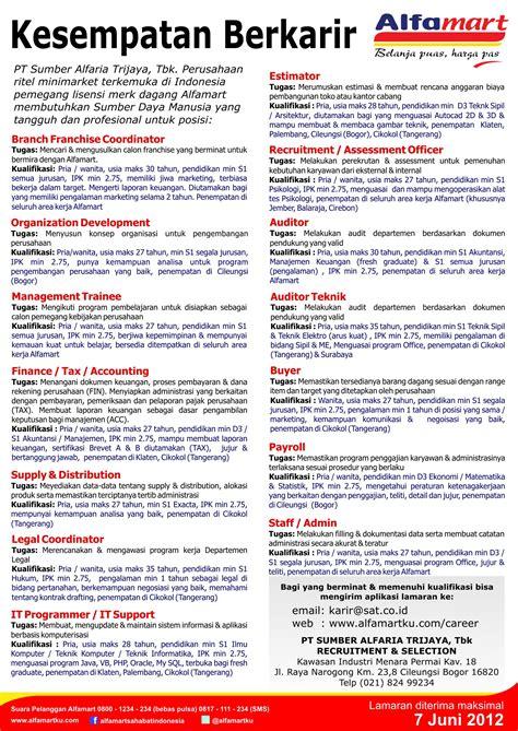 Bio Di Alfamart pengumuman lowongan kerja pt sumber alfaria trijaya terbaru mei 2012 2018 terbaru jarno web id