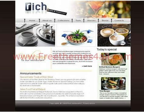 css layout restaurant phpfusiont4 jpg freethemes4all