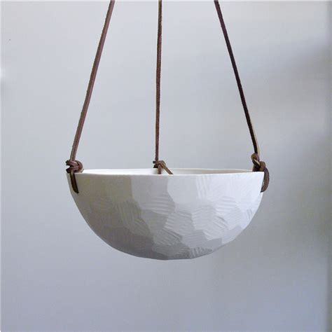 geometric hanging planter hanging ceramic porcelain planter with leather by revisionsdesign