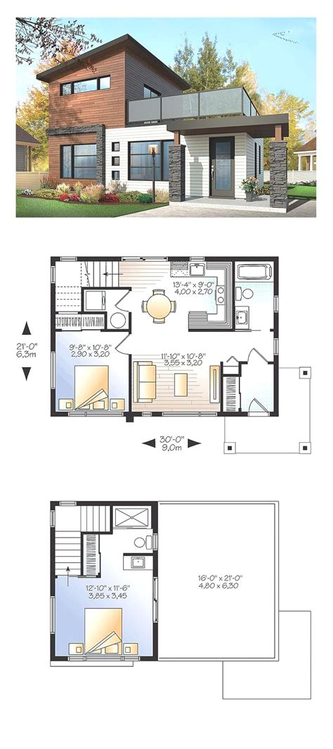 brown and white home design with small house with