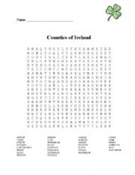 printable irish word search english worksheets counties of ireland word search