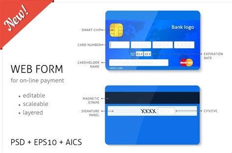credit card template numbers web form credit card elements web elements creative