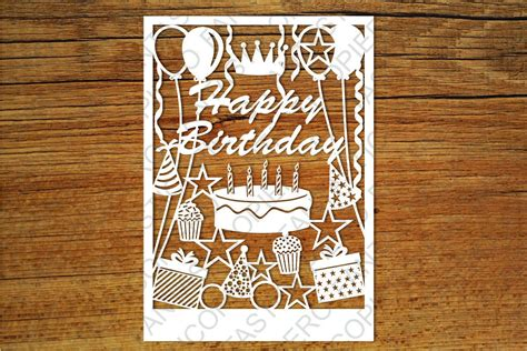 Silhouette Birthday Card Template by Happy Birthday Card Svg Files For Silho Design Bundles