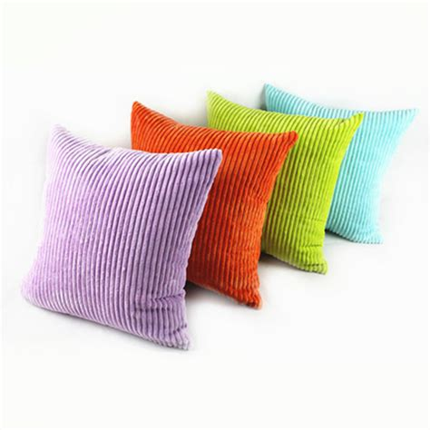 Fashion Promotion Stripe Soft Corduroy Plush Pure Colorful Colorful Pillows For Sofa