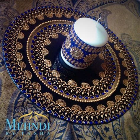 henna design plate blue and gold indian mehndi thaal charger plate by