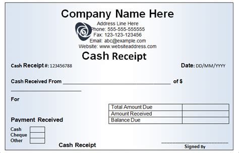 cash receipt template 16 free word excel documents