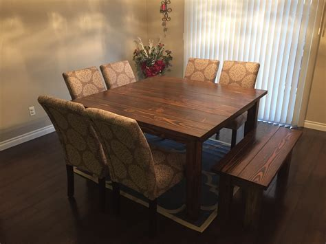 ana white dining room table and benches diy projects ana white square farmhouse table diy projects