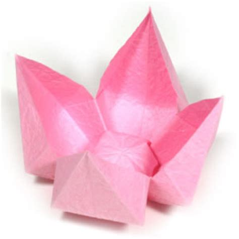Basic Origami Flower - how to make a simple origami lotus flower page 1