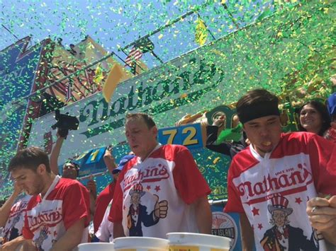 nathan s contest record joey chestnut eats 72 dogs at nathan s contest houston press