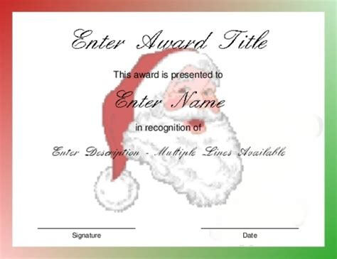 christmas awards award certificate templates invitation template
