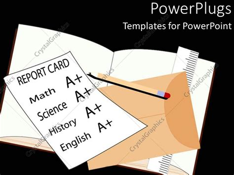 powerpoint templates card powerpoint template school report card with a grades on