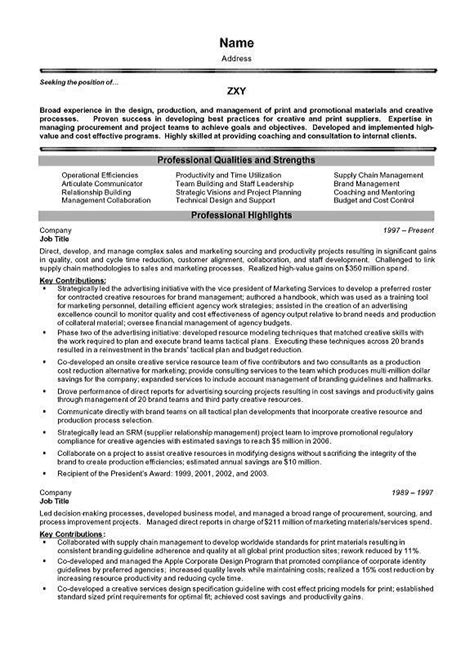 Exle Of An Executive Resume by Executive Resumes Exles