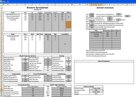 Brewing Spreadsheet by Lets See Your Brewing Excel Spreadsheets Home Brew Forums