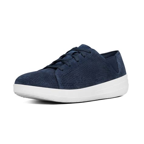 lace sneakers fitflop f sporty lace up sneakers midnight navy suede