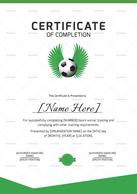 soccer completion certificate design template in psd word