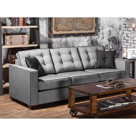 furniture tufted sofa furniture of america tayson tufted linen sofa in gray
