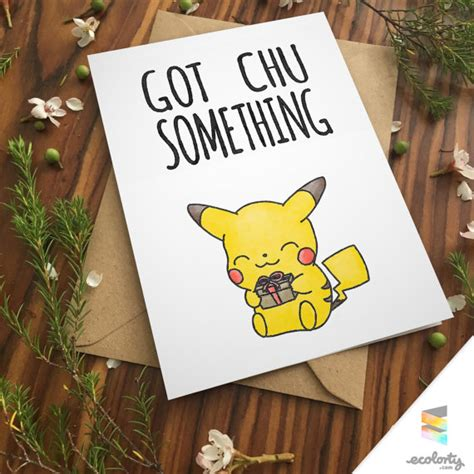 printable christmas cards for girlfriend pikachu pun birthday greeting card pun bday cute by ecolorty