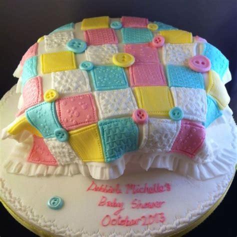 Patchwork Cakes - babyshower patchwork blanket cake cakes